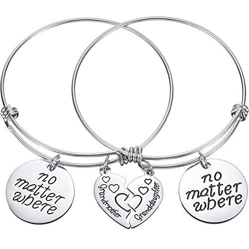 ndmother Granddaughter Bracelets Set Matching Heart Expandable Bracelets Split Heart No Matter Where Bangle Gift for Mother's Day ()