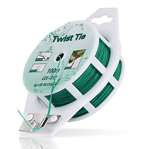 MUDNRRY 328ft (100m) Twist Ties,Green Coated Garden Plant Ties with Cutter for Gardening and Office Organization, Home