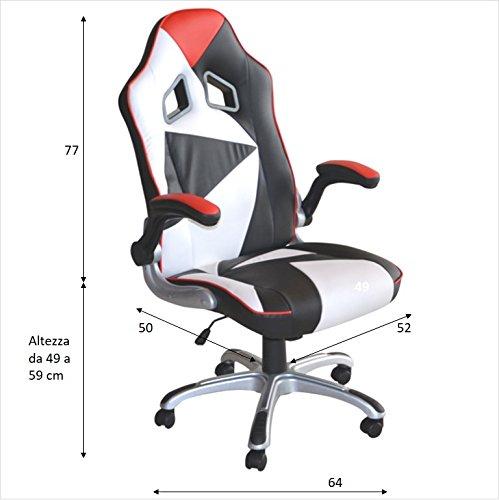 POLIRONESHOP MONTECARLO Silla sillon profesional presidential giratoria para Gaming Racing de oficina de escritorio con diferentes ajustes sillas respaldo alto color blanco-rojo-negro