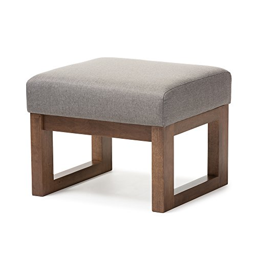 Baxton Studio Yashiya Mid Century Retro Modern Fabric Upholstered Ottoman Stool, Grey (Chair Upholstered With Ottoman)