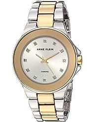 Anne Klein Womens AK/2755SVTT Diamond-Accented Two-Tone Bracelet Watch