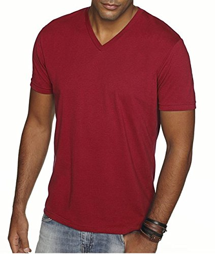 - Next Level Apparel 6440 Mens Premium Fitted Sueded V-Neck Tee - Cardinal, 2XL