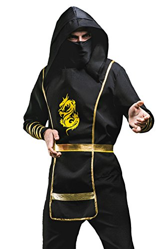 Adult Men Ninja Spy Costume Ninjutsu Suit Assassin Shinobi Japan Cosplay Dress Up (Medium/Large, Black / Gold)