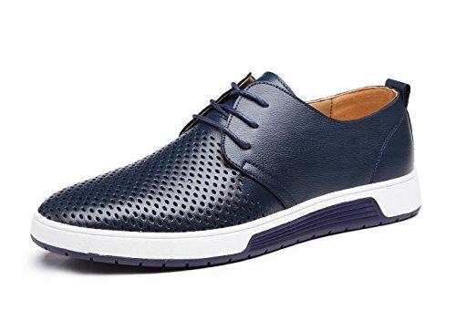 Oxford Pelle 48 Verniciata Lavoro Basse Nero Marrone Scarpe Blu Causale Uomo Blue Stringate Derby Brogue 38 Vintage 5TxYS
