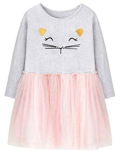 Fiream Girls Cotton Longsleeve Party Dresses Special Occasion Cartoon Patch -