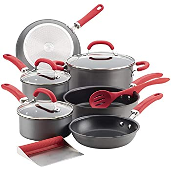 Rachael Ray 81157 Create Delicious Hard Anodized Nonstick Cookware Pots and Pans Set, 11 Piece, Gray with Red Handles