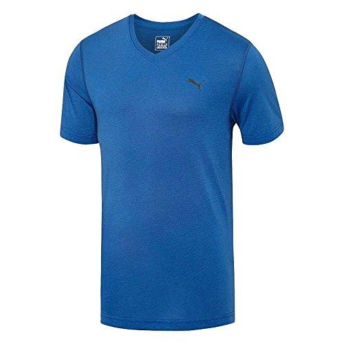 PUMA Men's Essential Short Sleeve Vneck T-Shirt, Limoges, Large