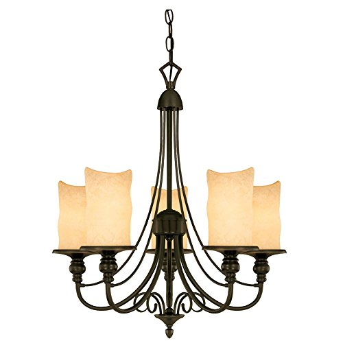 Westinghouse 69001 Hearthstone Five-Light Chandelier, Burnished Bronze Patina Finish with Burnt Scavo Globe