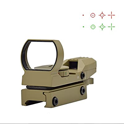 Feyachi 1x33mm Reflex Sight - Dark Earth Tan Gun Scope Sight Both Red and Green & 4 Reticals - Picatinny/Weaver Rails