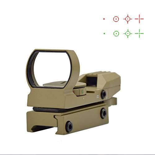 Feyachi 1x33mm Reflex Sight - Dark Earth Tan Gun Scope Sight Both Red and Green & 4 Reticals for Picatinny/Weaver - Gun Reflex