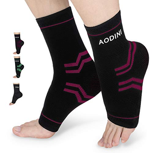Plantar Fasciitis Socks, AODINI High Arch Support Foot Compression Sleeves for Men & Women, Ankle Support Socks for Foot and Heel Pain Relief, Reduce Foot Swelling and Arch Pain (Red, Large)