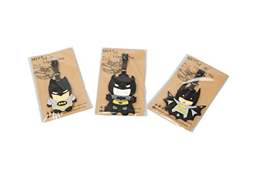 Set of 3 - Super Cute Kawaii Cartoon Silicone Travel Luggage ID Tag for Bags Suitcases (Assorted) (Batman)