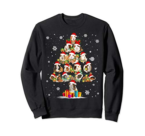 Funny Guinea Pig With Christmas Tree Hat In Snow Santa Xmas Sweatshirt (Sweater For Guinea Pig)
