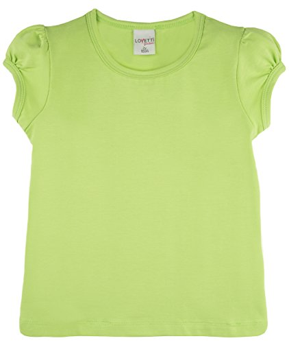 (Lovetti Girls' Basic Short Puff Sleeve Round Neck T-Shirt 11 Apple Green)