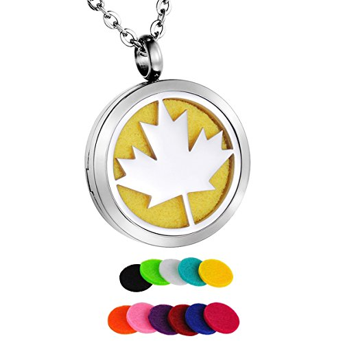 HooAMI Aromatherapy Essential Oil Diffuser Necklace - Maple Leaf Stainless Steel Locket Pendant with 11 Color Pads