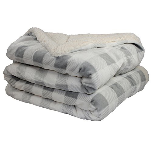 et - Micro Mink Lambswool Sherpa (Gray/Ivory Plaid) ()