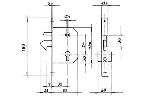 Einsteckschloss Hakenschloss f/ür Schiebetor mit Zylinder kleine Ausf/ührung