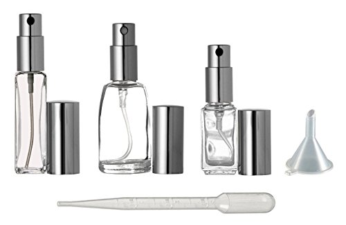 Riverrun Variety Set Small Travel Perfume Atomizers Glass Bottles Silver Sprayer 3 sizes: 1/6 oz, 1/4 oz, 1/3 oz (5ml, 7.5ml, 10ml) ()