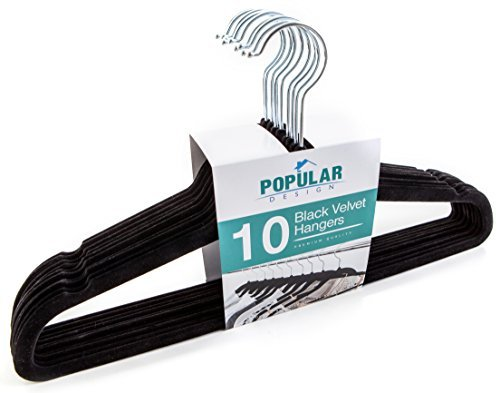 10 pc Premium Quality Black Velvet Hangers - Space Saving Thin Profile, Non-slip Padded with Notched Shoulders for Dresses and Blouses - Strong Enough for Coats and Pants