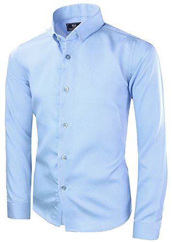 Black n Bianco Signature Boyss Sateen Long Sleeve Dress Shirt (2, Light Blue)