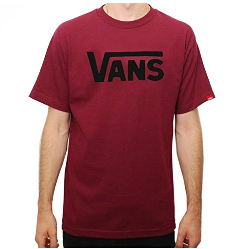 Vans Men Classic Logo T-Shirt (S, Burgundy/Black)
