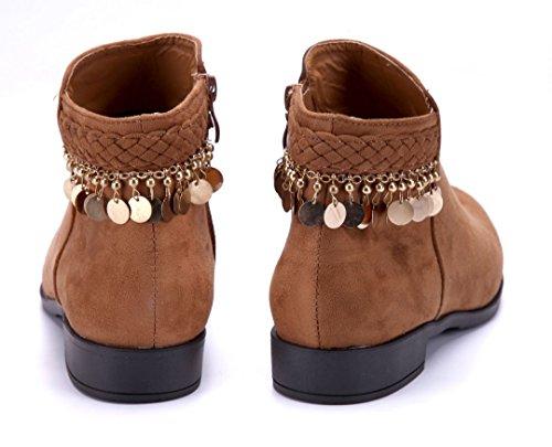 Schuhtempel24 Damen Schuhe Flache Stiefeletten Stiefel Boots Flach 2 cm Camel
