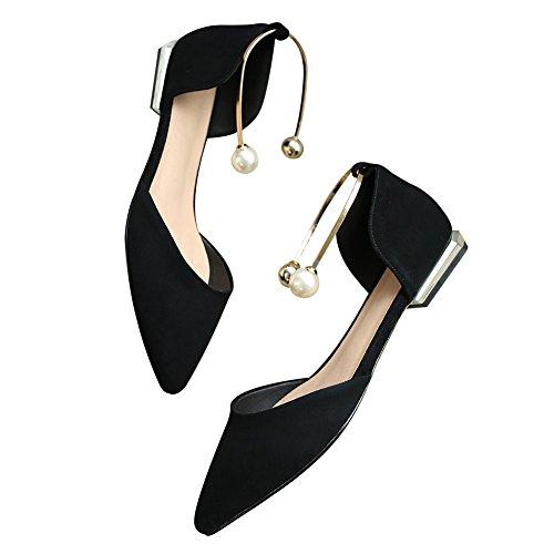 Jamron Women Classy Sheepskin O'rsay & Two-Piece Flats Stylish Elegant Pointed Toe Ballerinas With Delicate Pearls Black tfVXQT4G