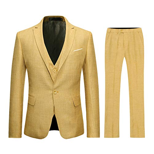Mens 3 Piece Linen Suit Set Blazer Jacket Tux Vest Suit Pants Yellow