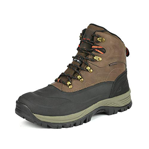 NORTIV 8 Men's A0014 Brown Black Insulated Waterproof Construction Hiking Winter Snow Boots Size 6.5 M US (Best Rated Mens Snow Boots)