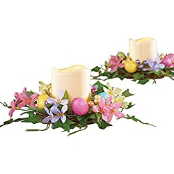 Colorful Easter Egg Floral Centerpiece & LED Candle Set - 2pc.