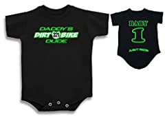 DADDY'S DIRT BIKE DUDE ONE PIECE CREEPER- DESIGN ON CHEST IN CHOICE OF COLOR WITH CUSTOMIZED NUMBER PLATE JUST RIDE LOGO ACROSS CHEEKS ON BACK