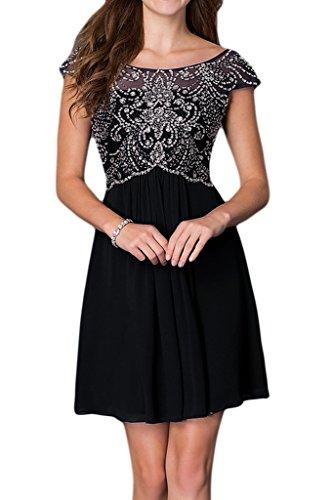 Line Gowns Cocktail decorazioni Sunvary nozze da con Nero corto A Abito motivo 5xxWSf1q