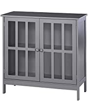 kleankin Storage Sideboard Buffet Cabinet Credenza with 2 Transparent Doors Dining Cupboard for Multifunction in Kitchen, Hallway, Living Room Grey