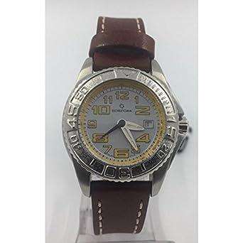 Uhr spazio24 Unisex l4d031-01ayy Quarz (Batterie) Stahl Quandrante grau Armband Leder