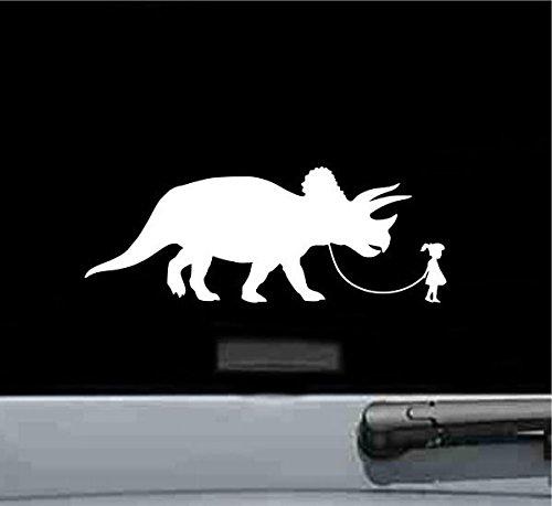 JS Artworks Girl Walking A Triceratops Dinosaur Vinyl Decal Sticker (White)