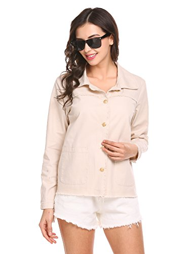 Ladies Wind Jacket Cream - Zeagoo Women Classic Bomber Jacket Windbreaker Zipper Quilted Lightweight Coat Cream Large