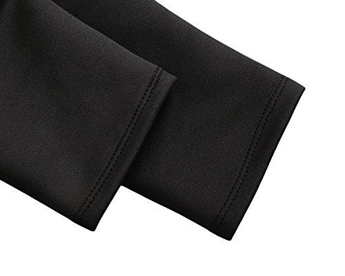 Dokotoo Womens Ajustement À Manches Longues Décontracté Et Flare Robe Patineuse Midi Avec Le Noir De Poche