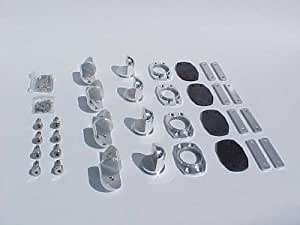 Krypt Wakeboard Tower Feet Kit, Mounting Hardware Fits Most Towers Tubing, Mounts are Polished Aluminum, Hardware is Stainless Steel, Kit Includes 4 Complete Mounting Feet, Backing Plates, Rubber Pads