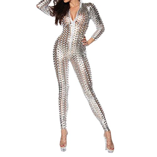 (Quesera Women's Sexy Hollow Catsuit One Piece Metallic Skinny Stretch Bodysuit, Silver1, Tag Size 2XL=US Size)