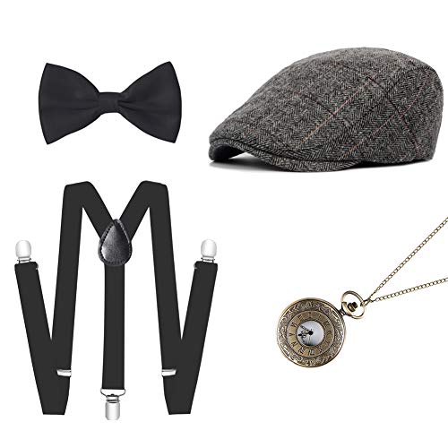 Mwfus 1920s Mens Gatsby Gangster Costume Accessories Set Manhattan Fedora Hat Suspenders Bow Tie Pocket Watch ()