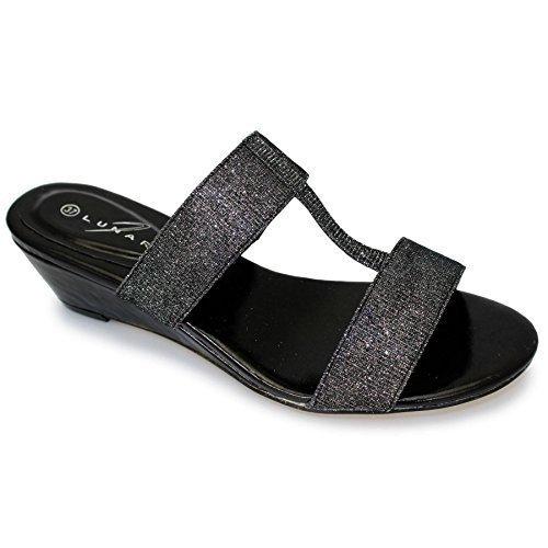 SAPPHIRE purpurina y para mujer ovillo de correa de fijación de la Fashion cojín con forma de cuña cómodo Mule de sándalo de bajo negro - negro