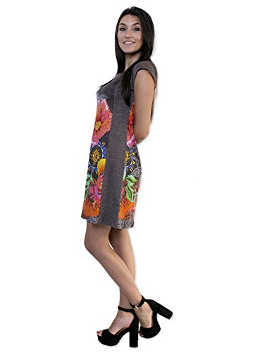 Coton Du Monde-vestido CINDY-36,38,40,42,44,46 2, color Gris Multicolor