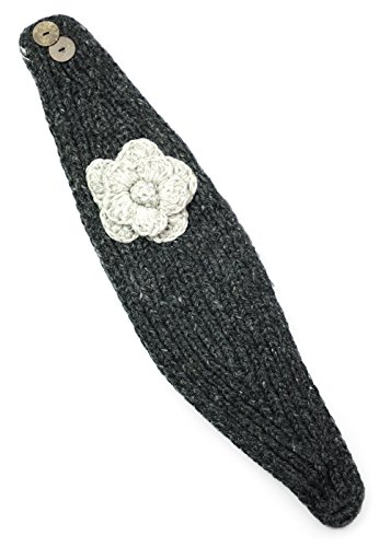 TCG Women's Hand Knit Wool Flowery Headband - Charcoal & Natural