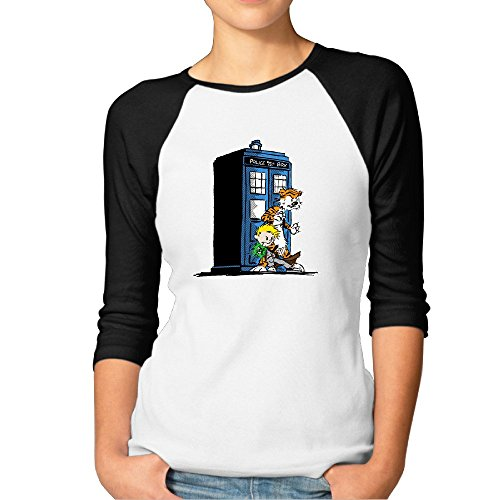 Fashion Woman Calvin And Hobbes Doctor Tv Who Poster Shirt Black [Size XXL (Ho Outfits)