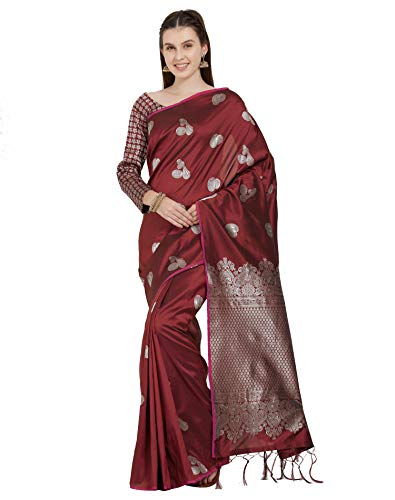 (Viva N Diva Sarees for Women's Handloom Silk Brown Woven Saree with Un-Stiched Blouse Piece,Free Size )