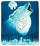 Wolf Howling & Moon Fleece Blanket