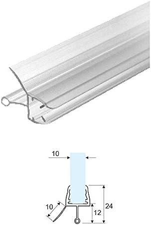 Burlete Junta para mampara de ducha, transparente con escurridor cristal: 10 mm por 2,20mt-vendida: Amazon.es: Bricolaje y herramientas