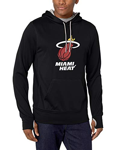 (OTS NBA Miami Heat Male Hooded Pullover, Jet Black, Medium)