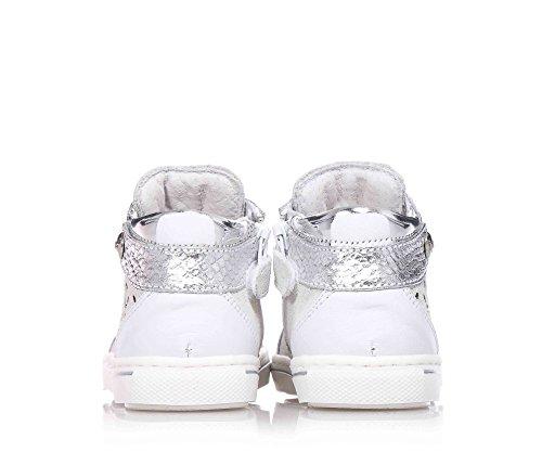 NERO GIARDINI - Baskets blanches et gris argenté à lacets en cuir et suède, fille, filles