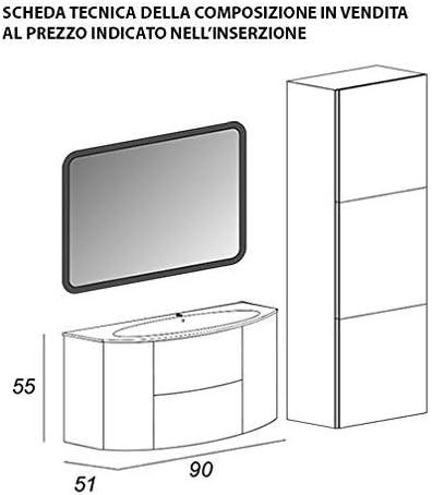mueble de baño suspendido Moderno Eden Push roble Oscuro, medida, con Espejo de LED, Lavabo y Columna: Amazon.es: Hogar
